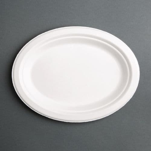 FC535 Fiesta Green Compostable Bagasse Oval Plates 316mm (Pack of 50)